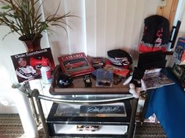 Glass & Metal Console/Sofa Table; Dale Earnhardt Racing Collectibles