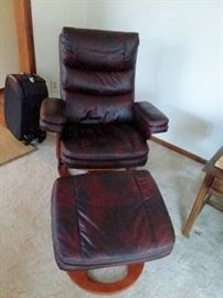 TWO Leather Lane Recliners with footstool