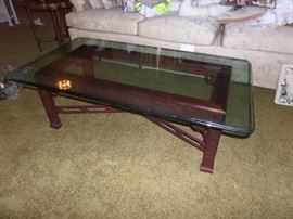 beautiful carved wood coffee table w/ glass top