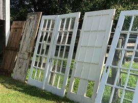 Vintage doors, pair of old French doors