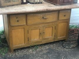 Very early primitive mustard cupboard with large butcher block top