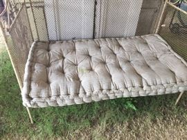 Baby bed/Day bed with great tufted, striped ticking mattress