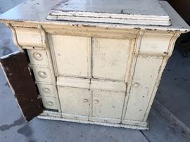 Awesome old sewing machine cabinet. Great look!
