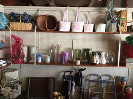 Baskets, vases, coffee carafes, trays, Baby stroller, walkers.