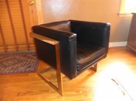 Contemporary leather and chrome chair/set of two