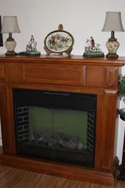 Electric fireplace with remote electric fireplace.