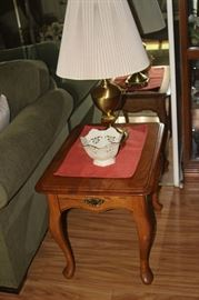 End table, brass lamp and Lenox bowl.