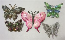 Enameled and rhinestone butterfly pins