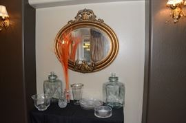 One of a kind mirror, glass beverage dispensers
