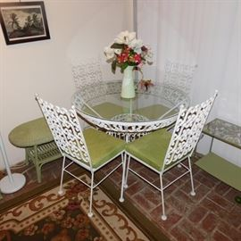 vintage metal and glass patio dining set
