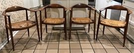 Set of 4 Hans Wegner by Johannes Hansen for Knoll International Cane Chairs