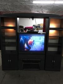 1 Sony Projection TV and Matching Lighted Entertainm ...