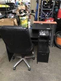 Black Student Desk and Rolling Office Chair
