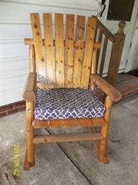 Wood rustic rocker