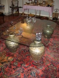 Large glass coffee table.