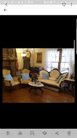 Formal Victorian Parlor Set (Clock Not For Sale)