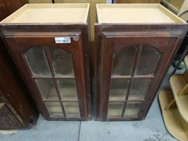 2 wall cabinets w glass