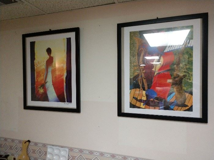 Prints by Belley (left) and Marcus Glenn (right)