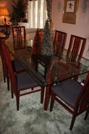 Glass topped dining table and 6 chairs (House of Denmark) Made in Italy