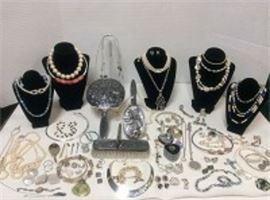 Hans Jensen Brush Set and Costume Jewelry