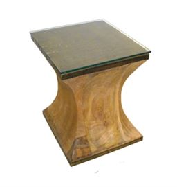 "$99.50 - Pedestal Mango with Brass Clad: 13.5"" square 18.5"" high"