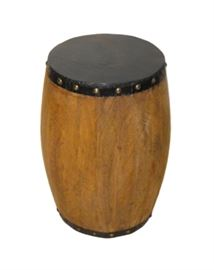"$49.50 - Pedestal Natural Mango with Iron Cladding: 14"" round 18"" high"