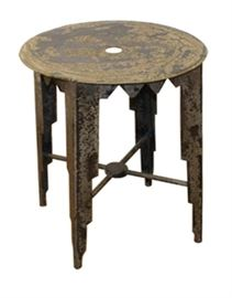 "$39.50 - Side Table/Stool Rustic Charcoal Finish: 15"" round 20"" high"