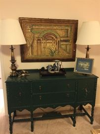 Awesome painted buffet, lamps and decor.