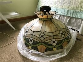 This is an extra large stained glass lamp shade