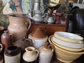 Old crockery, antique mixing bowls, lots of pewter. Antique scale.