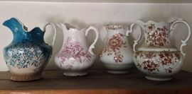Old washbasin pitchers. Great for decorating!