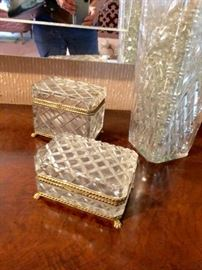 Crystal Casket Boxes and Vase