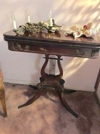 Pedestal Console Table with Harp and Decorative Lighting and other Decorative
