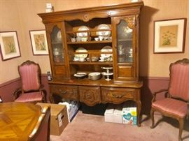 Vintage Hutch with Pair of Upholstered Occasional Chairs, Art and China