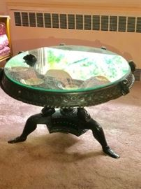 Carved Round Pedestal Table with Glass Top