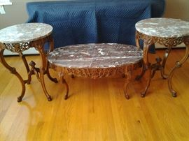 Antique hand carved marble tables set. $2,500