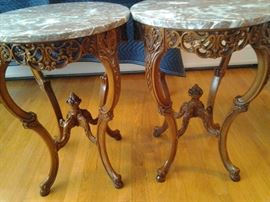 Antique marble tables. $2,500