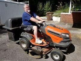 Glenn is having way too much fun on the YTH 24V48  Husqvarna Lawn Mower with Bagger