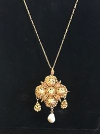 Deals-of-the-Day: Hand worked gold wire pendant with pearl, reg $1,495 now 50% OFF!
