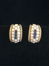 Deals-of-the-Day: 14k, sapphire & seed pearl earrings, reg $1,400 now 75% OFF!
