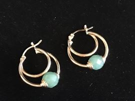 Deals-of-the-Day: Gold with jade bead earrings, reg $495 now 75% OFF!