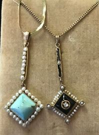 75% off Turn of the century necklaces. Blue stone is 14k  Sale priced @148.75. Black is 10K  and sale priced at 98.75