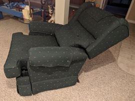 $40  Green print recliner chair
