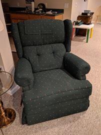 $40  Green print recliner