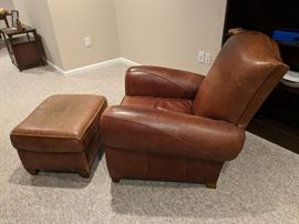 $75  Brown leather chair & ottoman