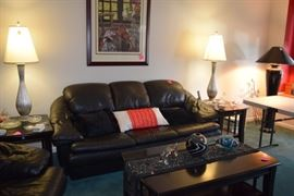 Leather Sofa & Loveseat, Coffee Table, Table Lamps, Side Tables, Home Decor, & Art