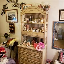 French Provincial bedroom set and a pig collection
