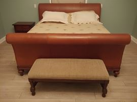 King leather sleigh  bed $300