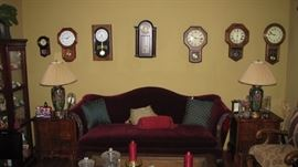 Collection of modern clocks, quality living room formal furniture.