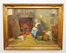 E.V. Conrady - Interior Scene, Oil on Canvas